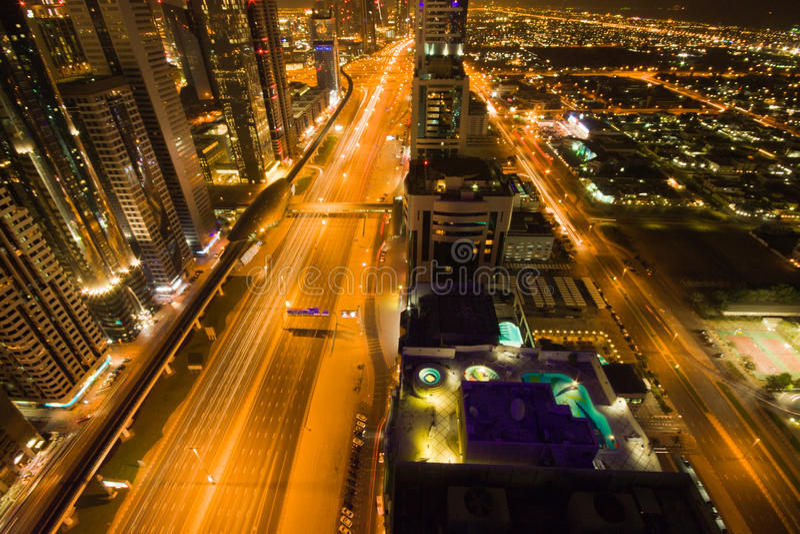 Downtown Dubai at Night royalty free stock photo