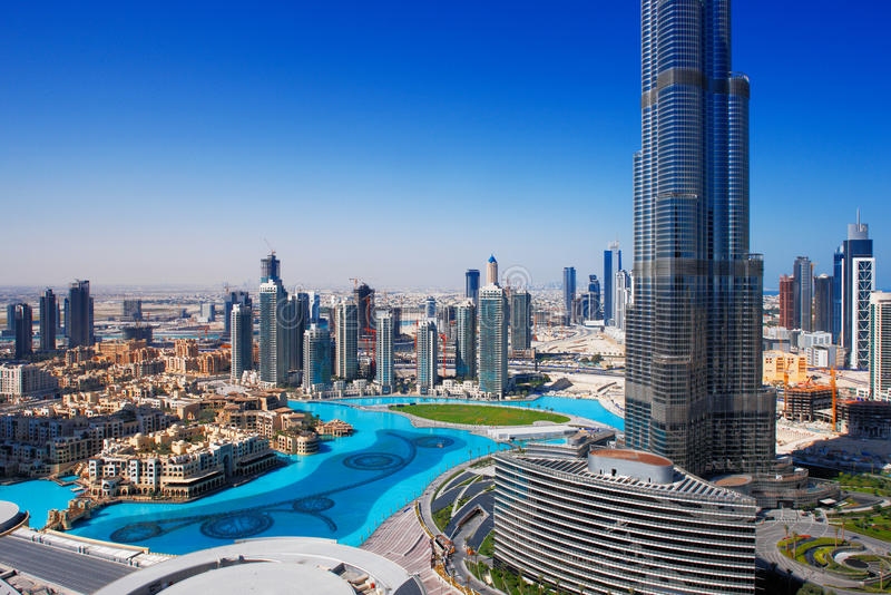 Downtown Dubai is a popular place for shopping stock photography