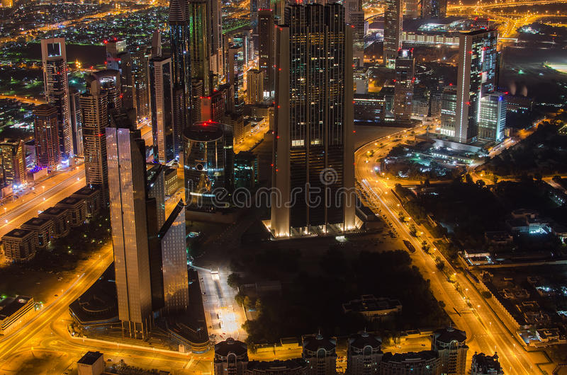 Downtown of Dubai (UAE) at night royalty free stock photography