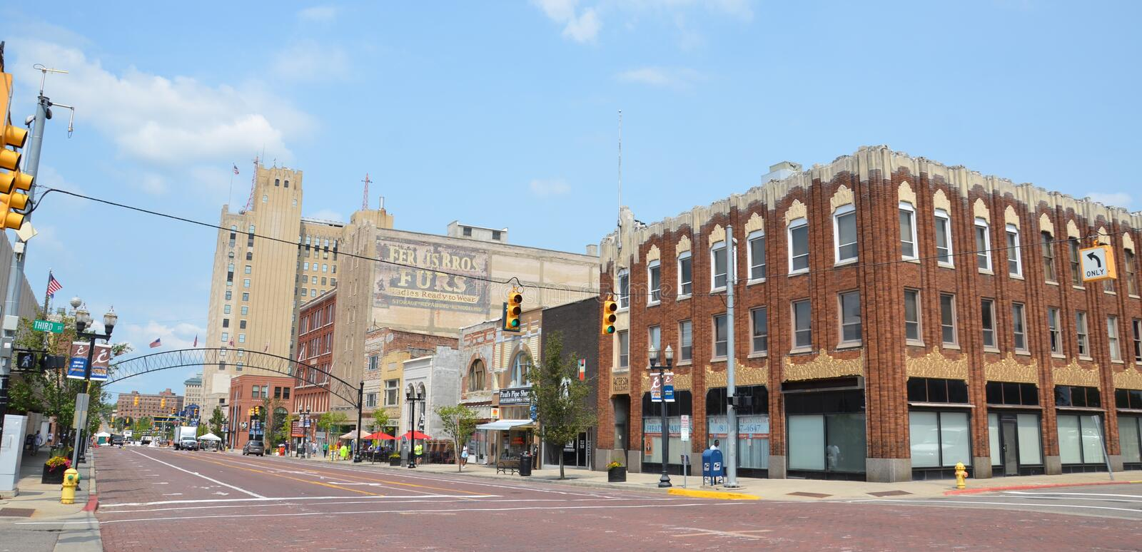 Downtown Flint, MI. FLINT, MI - AUGUST 22: Flint, MI, whose downtown is shown here on August 22, 2015, recently elected Dr. Karen Weaver as their first female royalty free stock photography