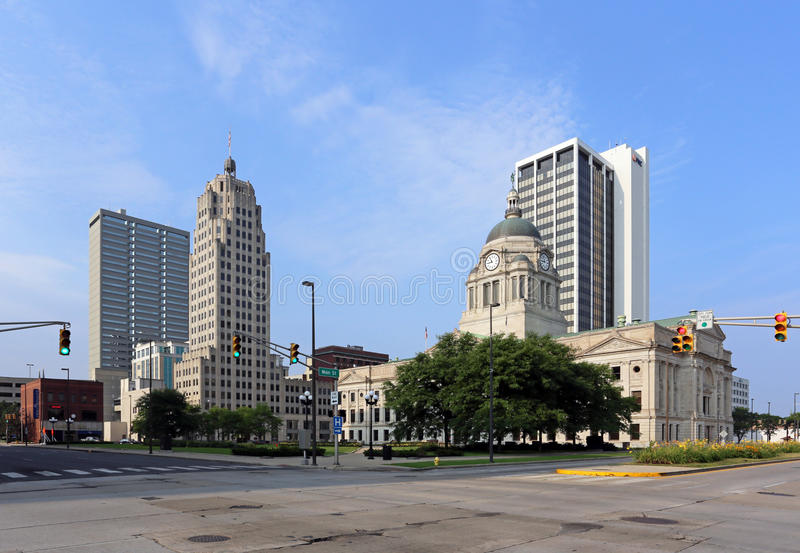 Downtown Fort Wayne. Fort Wayne, IN, USA - August 2, 2014: The downtown district in Fort Wayne, Indiana. Fort Wayne is the county seat of Allen County and the stock image