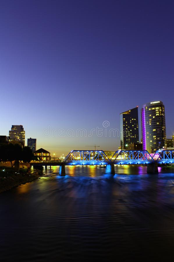 Downtown Grand Rapids at dusk stock photography