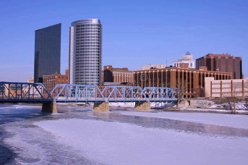 Download Downtown Grand Rapids, MI stock image. Image of winter - 8075587