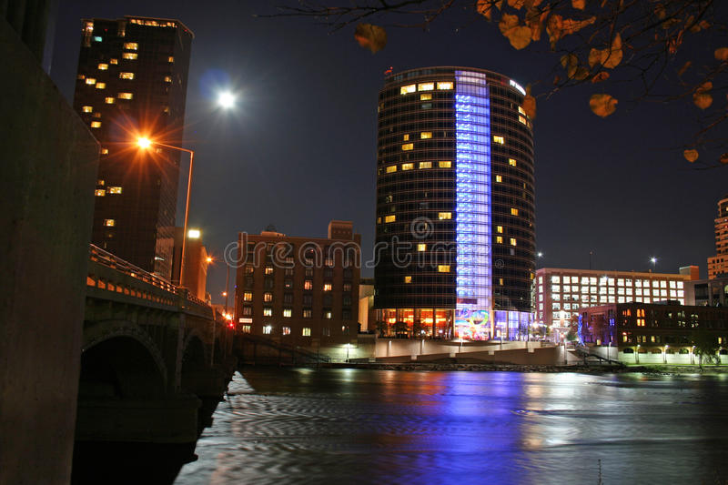 Downtown Grand Rapids at Night stock photo
