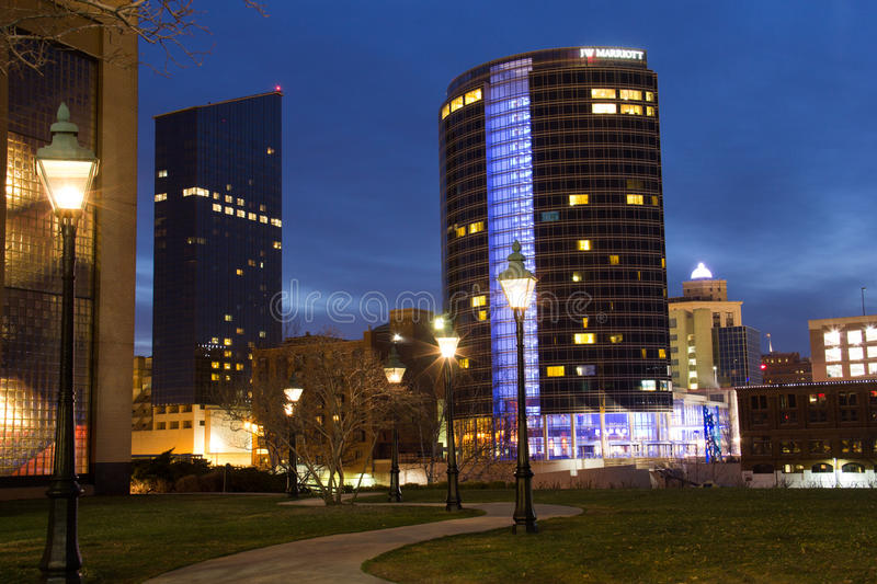 Downtown Grand Rapids at Night stock photos