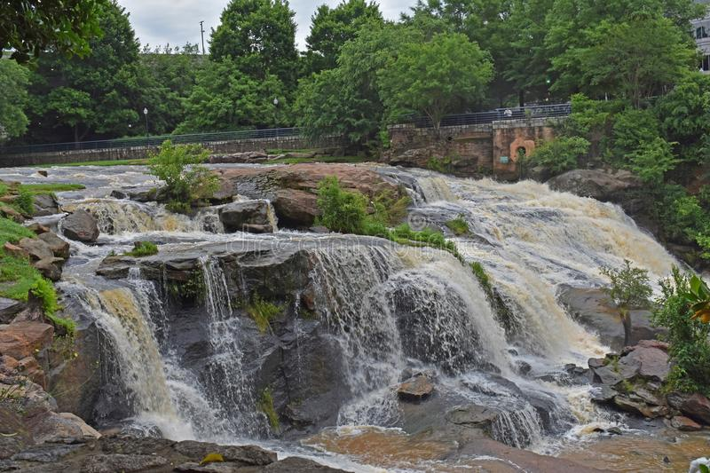 Reedy River Falls in Downtown Greenville SC royalty free stock image