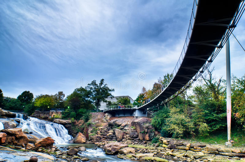 Downtown of greenville south carolina around falls park royalty free stock photos