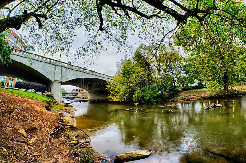 Downtown of greenville south carolina around falls park stock photography