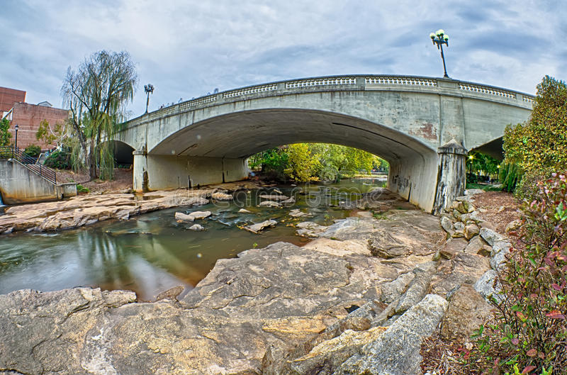Downtown of greenville south carolina around falls park stock image