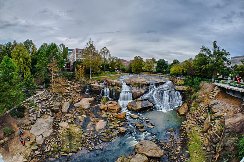 Downtown of greenville south carolina around falls park royalty free stock images