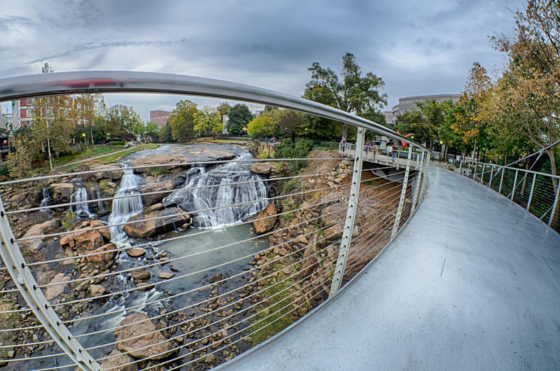 Downtown of greenville south carolina around falls park royalty free stock photography