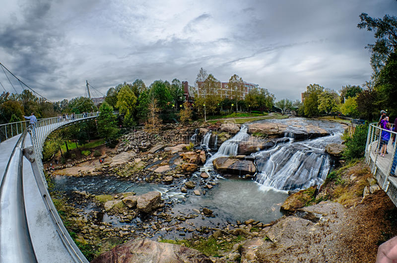 Downtown of greenville south carolina around falls park stock photos