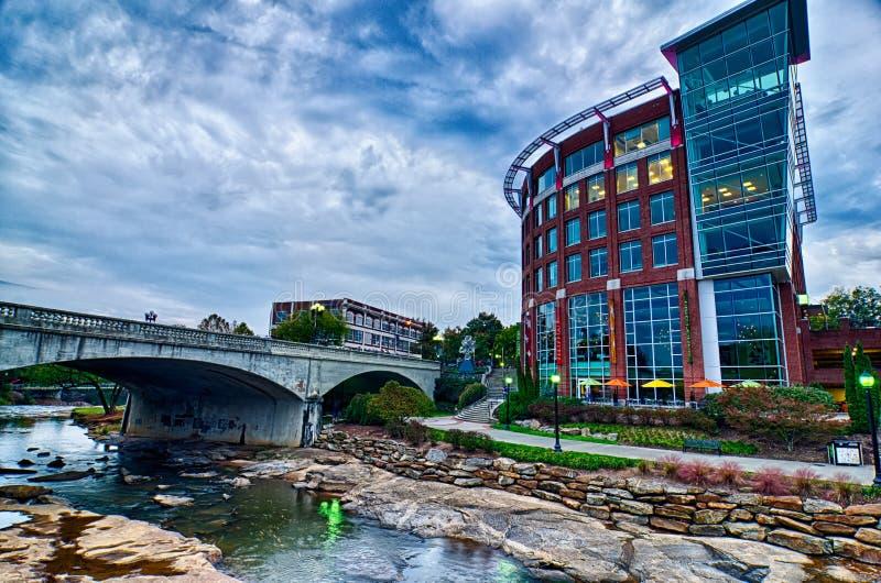 Downtown of greenville south carolina around falls park royalty free stock photo