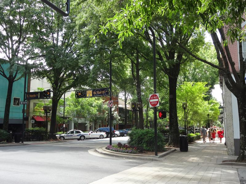 Downtown Greenville, South Carolina. Shops and cafes along tree-lined sidewalks in downtown Greenville, South Carolina stock photography
