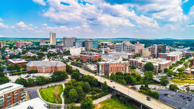 Downtown Greenville, South Carolina, United States Skyline. Drone Aerial of the Downtown Greenville, South Carolina SC Skyline stock photos