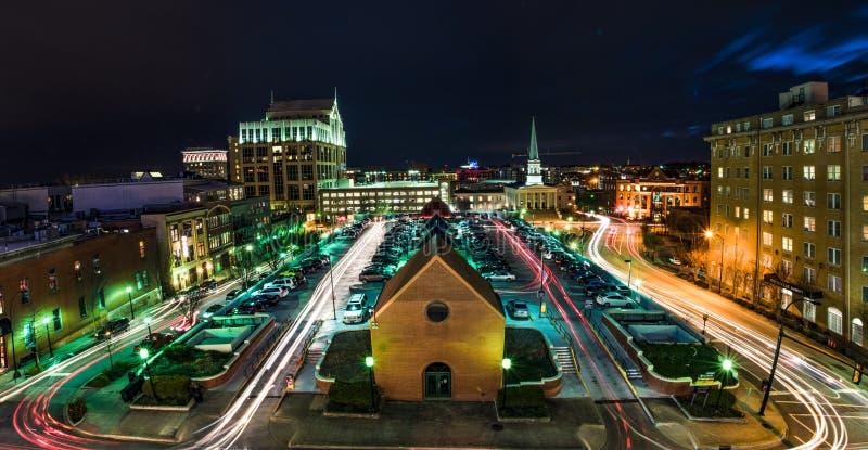 Downtown Greenville, South Carolina, USA Skyline at Night. stock photos