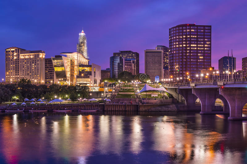 Downtown Hartford, Connecticut Skyline. The skyline of downtown Hartford, Connecticut at dusk from across the Connecticut River stock photography