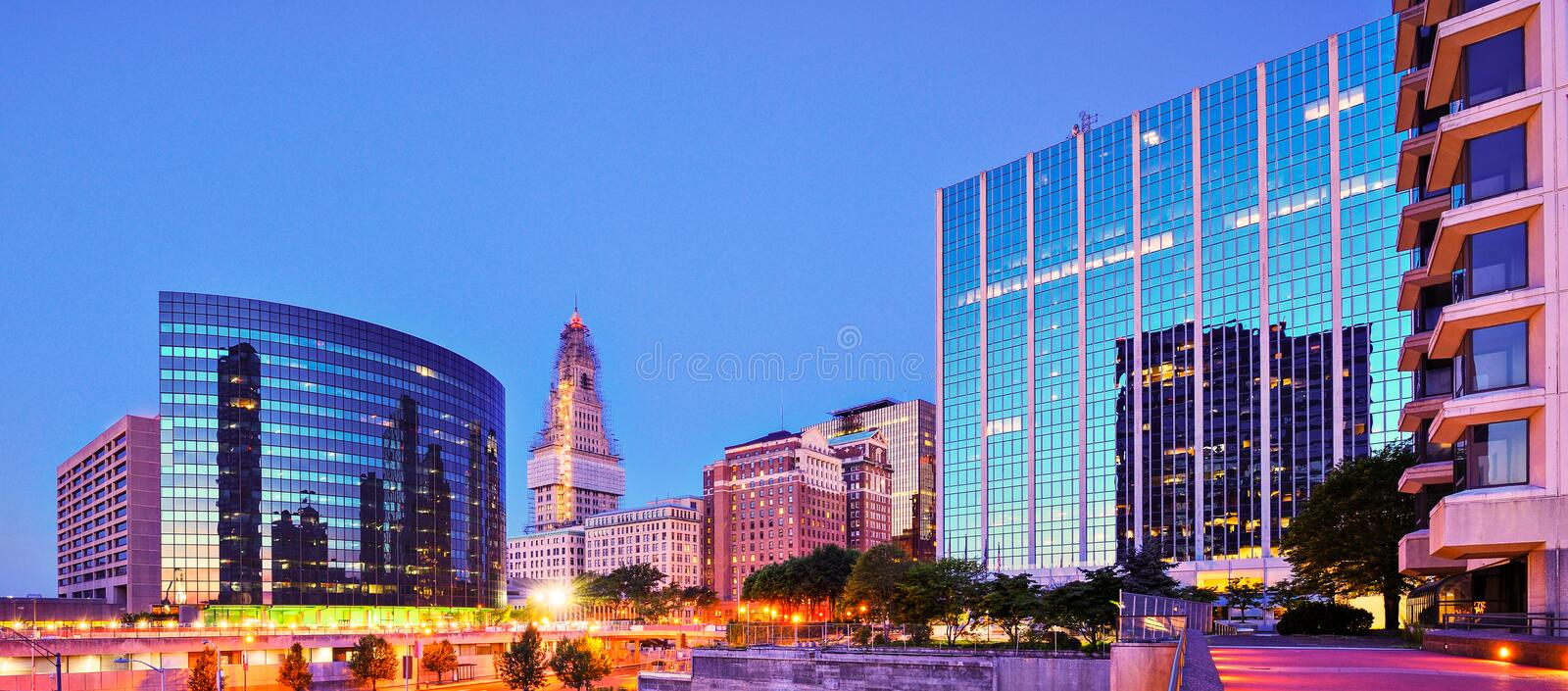 Downtown Hartford, Connecticut Skyline. The skyline of downtown Hartford, Connecticut at dusk from across the Connecticut River royalty free stock photography