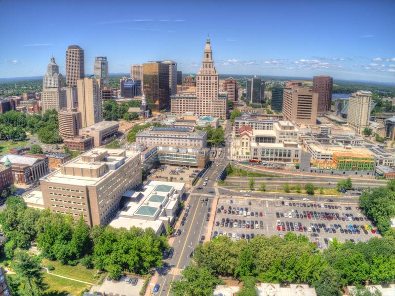 Downtown Hartford, Connecticut Skyline seen in Summer by Drone stock photography