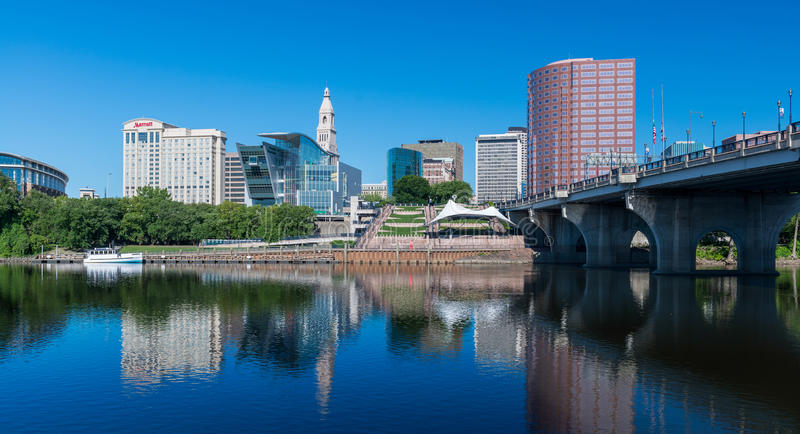 Downtown Hartford. Downtown Harford and the Connecticut River from Great River Park in East Hartford, Connecticut on July 23, 2015 royalty free stock images