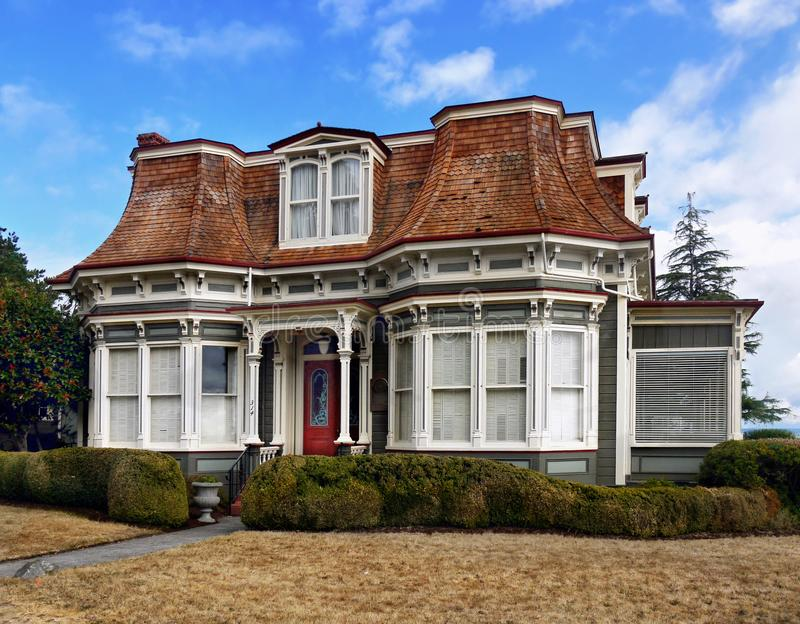 Historical Victorian Buildings, Port Townsend, Washington, USA. Downtown historical Victorian building, street view - Port Townsend, a city in Jefferson County stock image