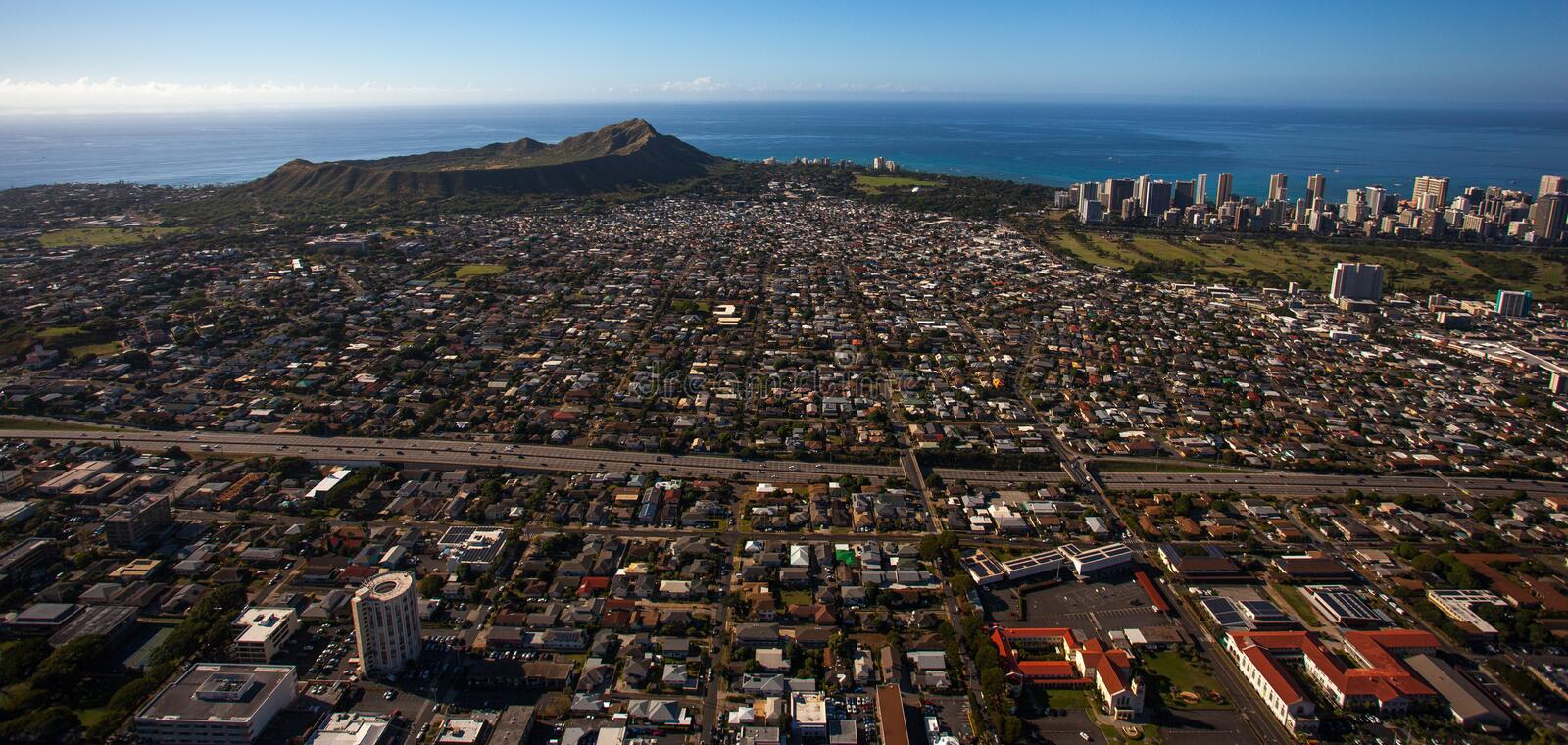 Downtown Honolulu and Diamond Head Crater Aerial View stock image