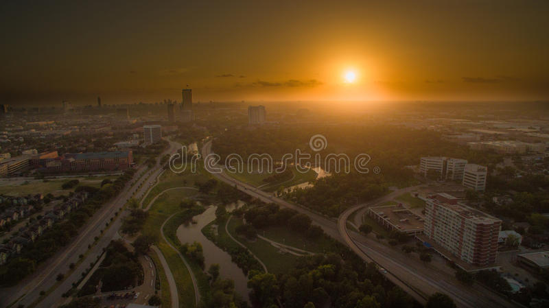 Downtown Houston. Aerial photo of Houston during sunset using drone stock photo