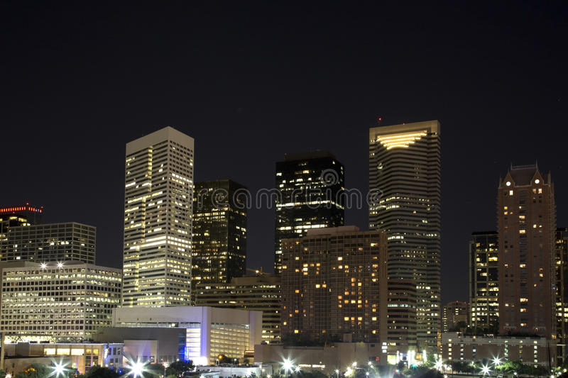 Downtown of Houston evening royalty free stock photo