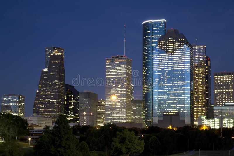 Download Downtown Houston night stock image. Image of lighted - 57553181