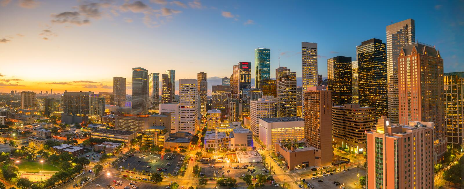 Downtown Houston skyline. In Texas USA at twilight stock image