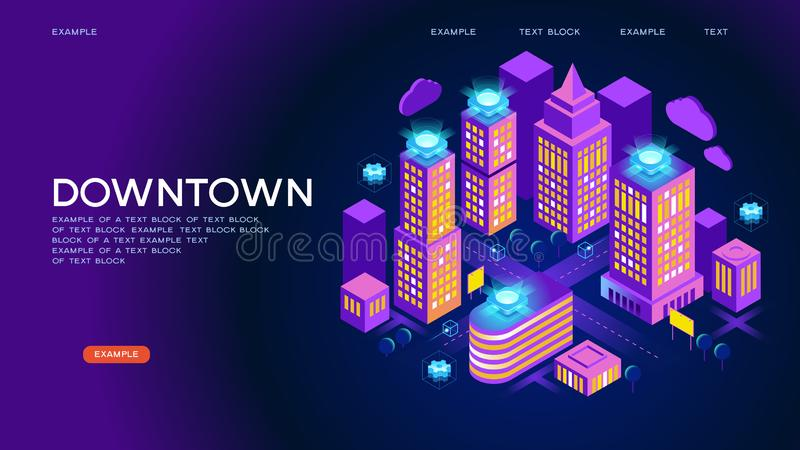 Downtown isometric vector concept stock illustration