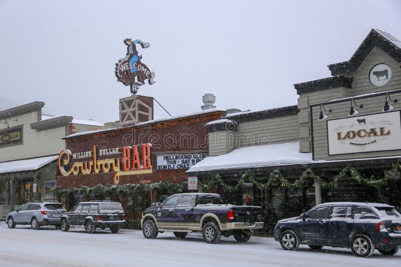 Downtown Jackson Hole Wyoming Cowboy Bar during winter snow storm royalty free stock photos