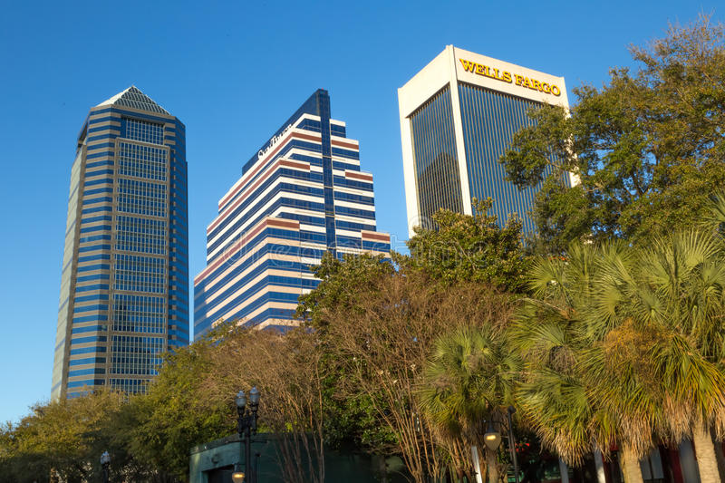 Downtown Jacksonville, Florida. Three high rise banks in Jacksonville, Florida stock photography