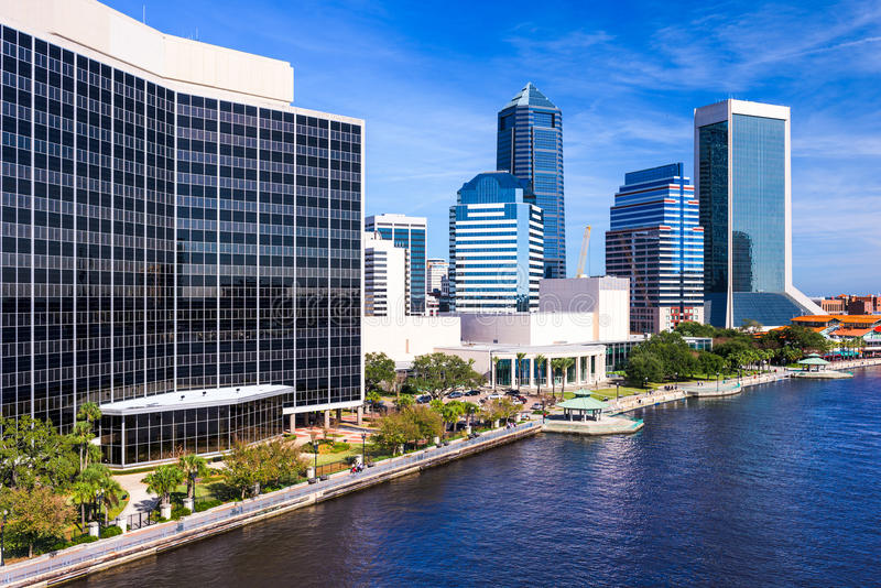 Downtown Jacksonville Florida. Jacksonville, Florida, USA downtown city skyline on St. Johns River royalty free stock image