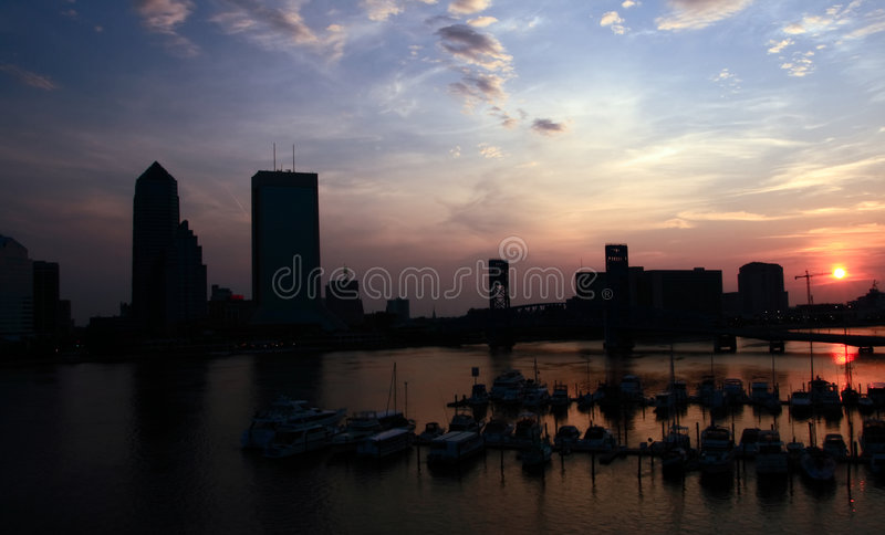Downtown Jacksonville Sunrise Royalty Free Stock Images