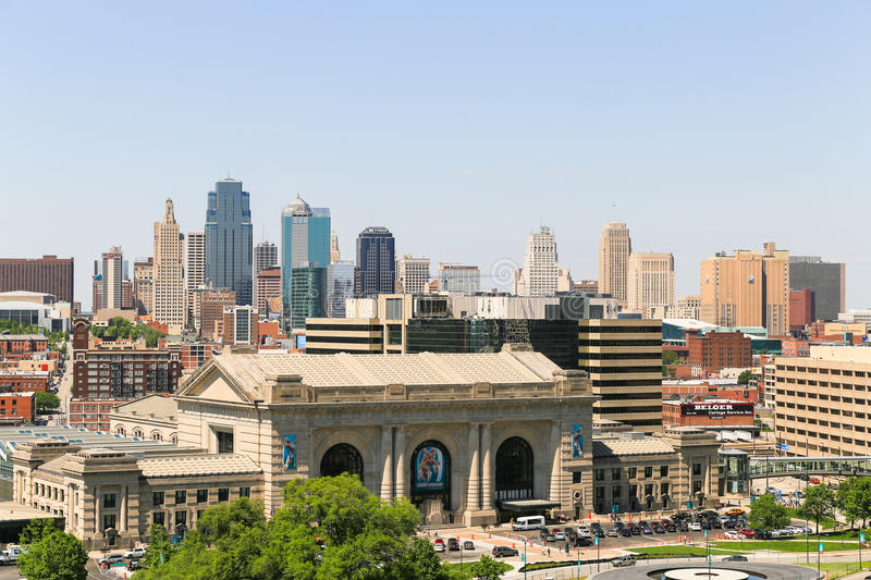 Downtown Kansas City. Kansas City, USA - May 21, 2016: The Kansas City skyline with the Union Station in the foreground seen from the National World War I Museum royalty free stock image
