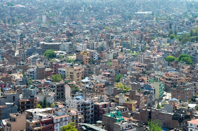 Downtown Kathmandu Nepal. A high angle view of the downtown population density of Kathmandu, Nepal royalty free stock images