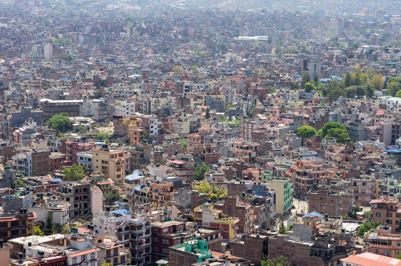 Downtown Kathmandu Nepal. A high angle view of the downtown population density of Kathmandu, Nepal stock images