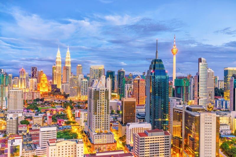 Downtown Kuala Lumpur skyline at twilight. In Malaysia stock images