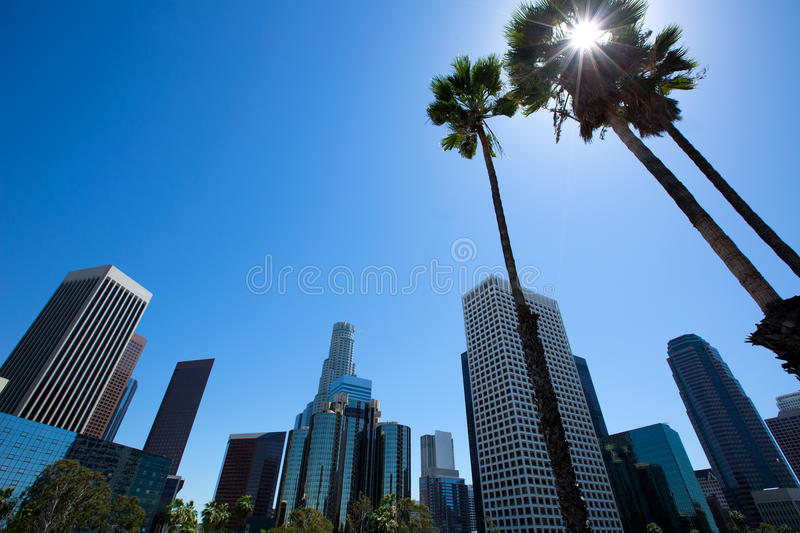 Downtown LA Los Angeles skyline California from 110 fwy. Downtown LA Los Angeles skyline California from 110 freeway with palm trees royalty free stock image