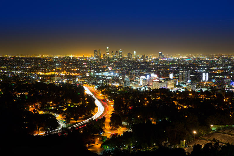 Downtown Los Angeles Skyline At Night Editorial Photography Image