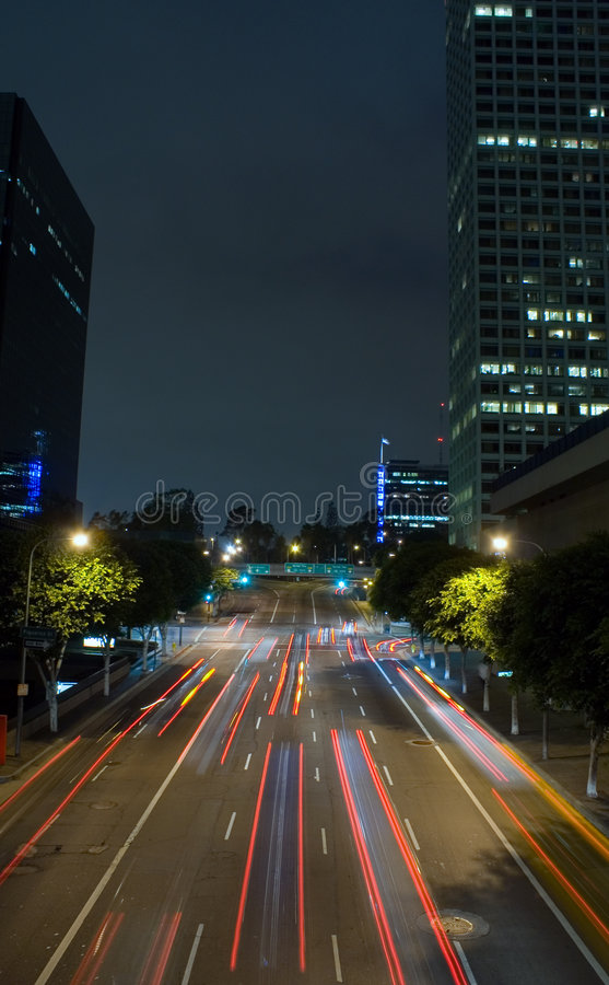 Download Downtown LA- tail lights stock image. Image of innovation - 1142363