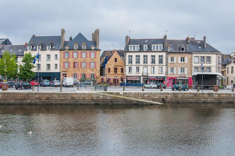 Downtown Landerneau in Finistère royalty free stock photo
