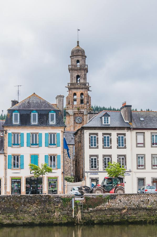 Downtown Landerneau in Finistère stock image