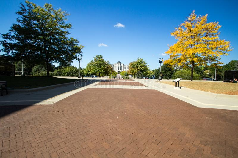 Downtown Lansing Michigan Autumn Panorama. Lansing, Michigan, USA - September 17, 2018: Downtown pedestrian walkway with the Michigan Hall Of Justice at the stock images