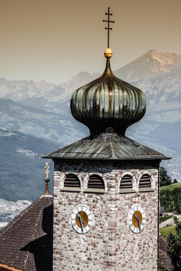 Downtown of Liechtenstein kingdom capital,Vaduz. Tiny country in Europe royalty free stock photography