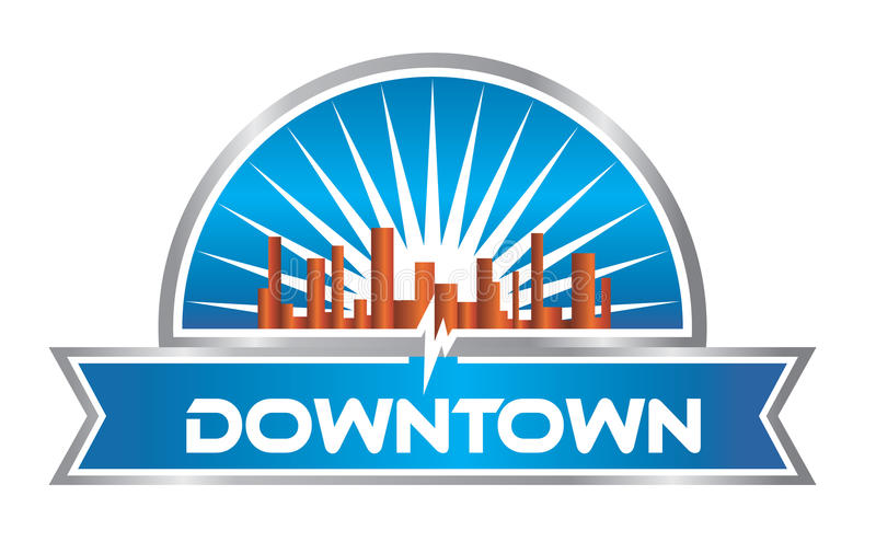 Downtown Logo. With solar rays and city silhouette stock illustration