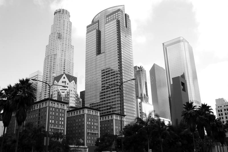 Downtown Los Angeles California Cityscape. A mix of the new and old architecture of downtown Los Angeles, California, USA, in this gray scale black and white royalty free stock photo