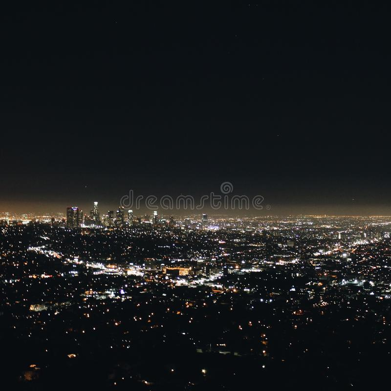 Downtown Los Angeles City lights royalty free stock photo