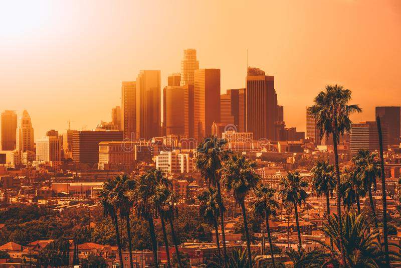 Aerial view of Downtown Los Angeles royalty free stock images